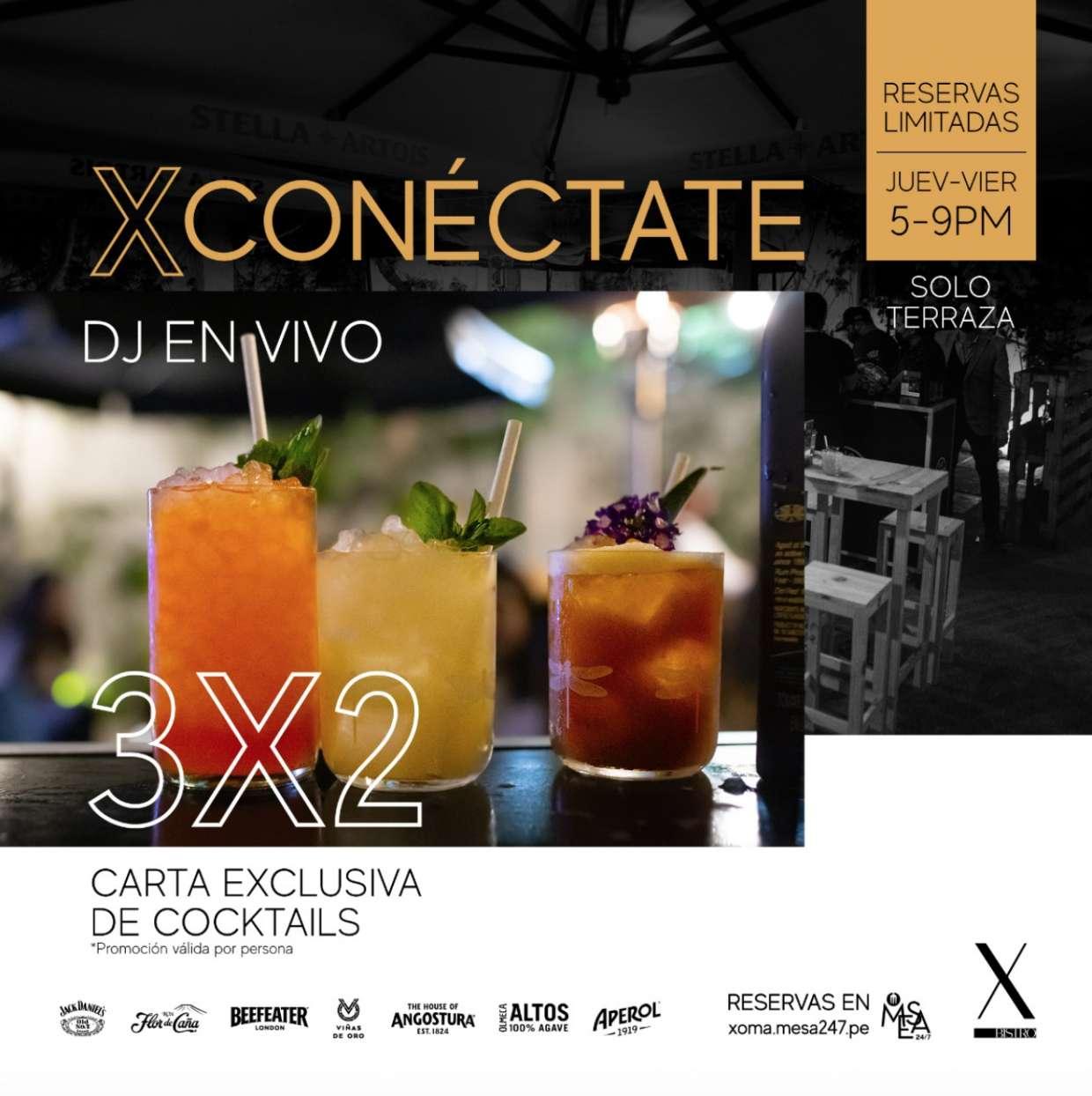 XConéctate - 3x2  carta exclusiva de cocktails